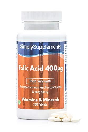 �cido Fólico (Vitamina B9) 400mcg - ¡Bote para 1 año! - Apto para veganos - 360 Comprimidos - SimplySupplements
