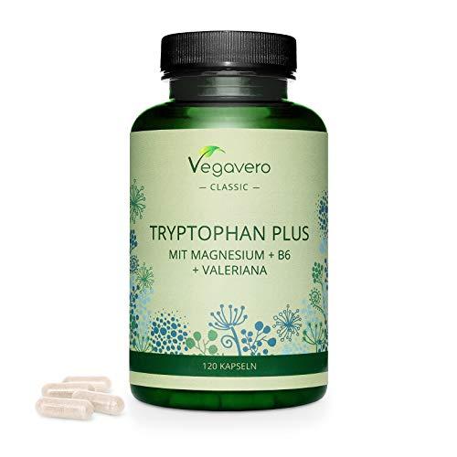 L-Triptófano PLUS Vegavero | Magnesio + Vitamina B6 + Valeriana | La Dosis Más Alta: 600 mg | 120 Cápsulas| Sin Aditivos | Ansiedad + Insomnio + Irritabilidad | Serotonina & Melatonina