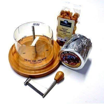 Conjunto Completo Máquina de cortar del queso 1 en toda Pan ca 850g Tete de Moine Queso de cabeza de monje 100 g Suiza Sal Masa de hojaldre Staengli