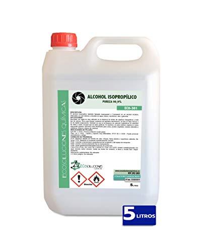 Ecosoluciones Químicas ECO-301   5 litros   Alcohol Isopropílico 99,9% Alta pureza IPA   Limpieza componentes electrónicos, Objetivos, Pantallas. Desengrasante. Desinfección y Limpieza Superficies
