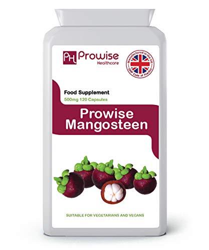 Mangostán 500mg 120 Cápsulas-Superalimento Suplemento antioxidante para la salud para apoyar el sistema inmunológico - Reino Unido Fabricado con GMP Calidad garantizada - Adecuado para vegetarianos y veganos Por Prowise Healthcare