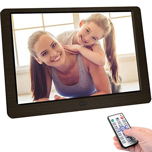 Letaocity Marco Digital Fotos 10 Pulgadas, Alta Definición (1920x1080) Marco de Imagen de Control Remoto Soporte de Foto/Música/Video/Calendario/Alarma