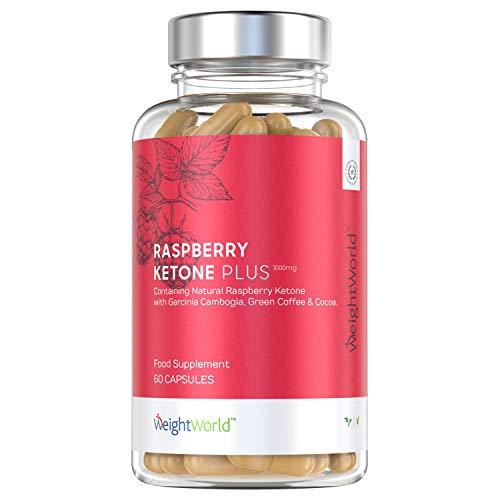 Raspberry Ketone Plus, Cetonas De Frambuesa 1000 mg Quemagrasas Potente Para Adelgazar - Con Café Verde, Pimienta Cayena, Té Verde y Zinc, Para Perder Peso de Forma Natural y Eficaz, 60 Cápsulas