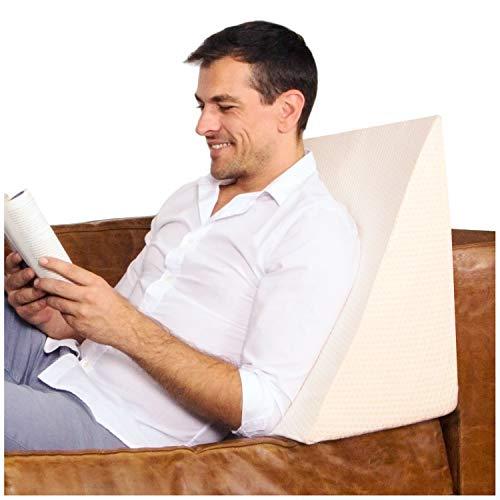 Purovi Cojín con Forma de Cuña para Cama y Sofá Sujeción de Espalda | Almohada de Lectura | 30 x 50 x 60 cm