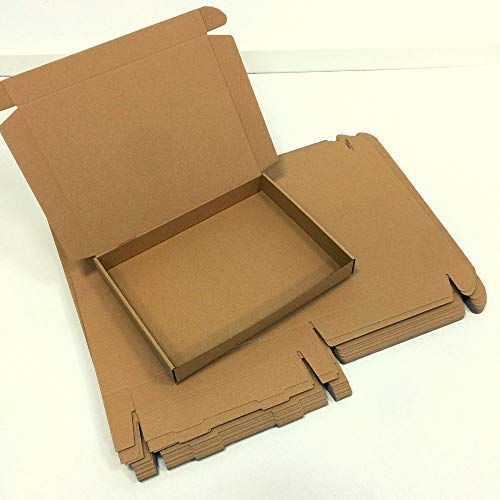 1 Pack de 25 Cajas de Cartón Automontables para Envíos. Caja de Color Marrón y tipo de Cartón Microcanal. Tamaño 39x28,5x5 cm. Fabricadas en España por Cartonajes Alboraya fabricante desde 1957