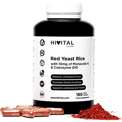 Levadura de Arroz Rojo con 10 mg de Monacolina K y 5 mg de Coenzima Q10   180 cápsulas vegetales   Suministro para 6 meses   Regula los niveles de colesterol sanguíneo   Libre de Citrininas
