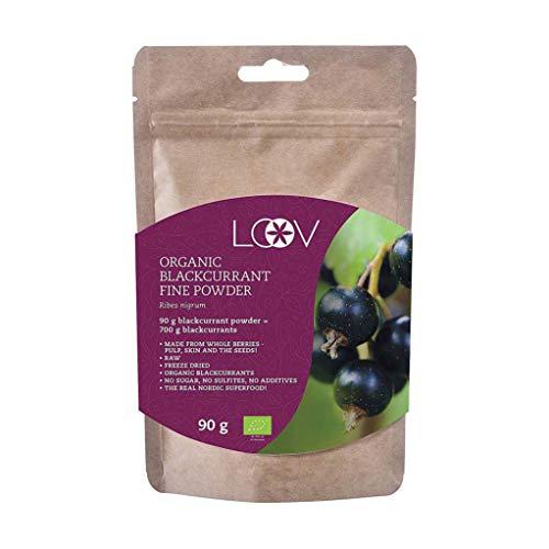 Grosella Negra en Polvo: Orgánica, Rica en Antioxidantes y Vitamina C, 100% Obtenida a Partir de Fruta Entera, 90 g, Cruda, Cultivada en el Norte de Europa, Sin Azúcar, Sin Aditivos