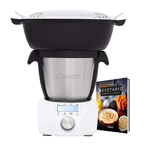 IKOHS CHEFBOT Compact STEAMPRO - Robot de Cocina Multifunción, Cocina al Vapor, 23 Funciones, 10 Velocidades con Turbo, Bol Acero Inoxidable 2,2 L, Libre BPA (con Vaporera y Recetario - Blanco)