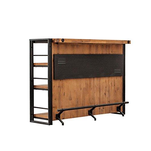 Barra de bar de estilo industrial de metal y madera de acacia maciza, acabados cuidados - Colección Workshop