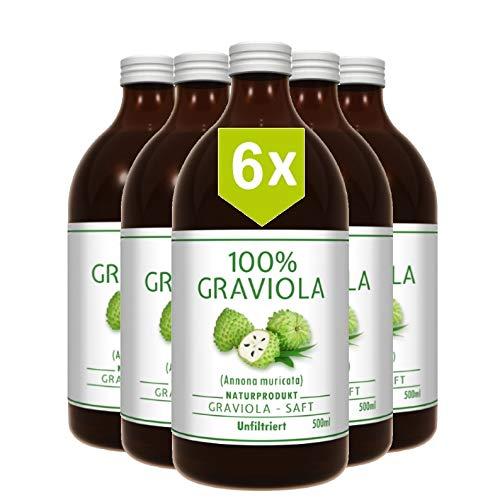 6 x 100% ZUMO DE GUAN�BANA - sin filtrar y vegano (6 x 500 ml), hecho de puré de graviola al 100%. Compra ventaja. Graviola. Soursop. Corossol. Stachelannone.
