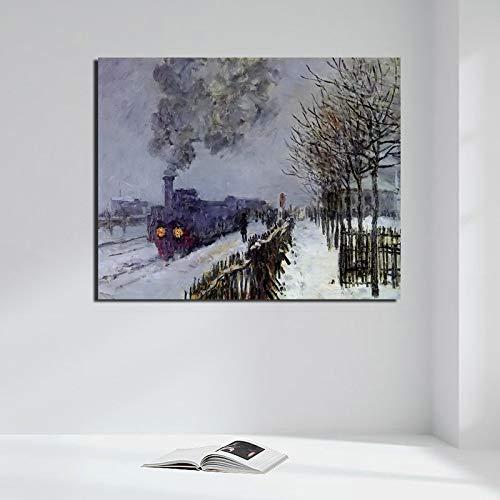 tzxdbh Claude Monet Train In The Snow Poster Vintage Canvas Painting Print Sala de Estar Decoración para el hogar Arte Moderno de la Pared Pintura al óleo Imágenes
