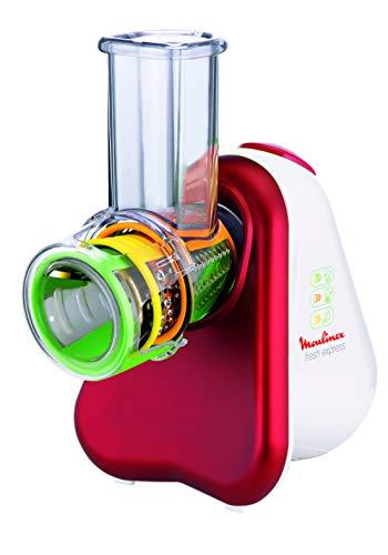 Moulinex DJ7535 Fresh Express - Picadora Eléctrica con 3 Funciones en 1, 150 W, Plástico, Rojo/Blanco
