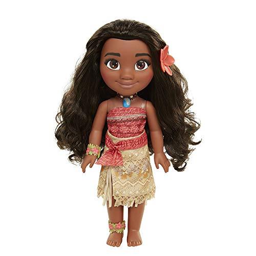Glop Games- Princesa Disney, muñeca Vaiana Detalle. Fíjate en su Pelo, Vestido, Flor de Polinesia Toddler 35cm, 38 cm (04703)