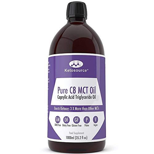 C8 MCT Aceite Puro | Produce 3 X Más Cetonas Que Otros MCT Aceites | Triglicéridos de Acido Caprílico | Paleo y Vegano Amistoso | Botella Sin BPA | Ketosource