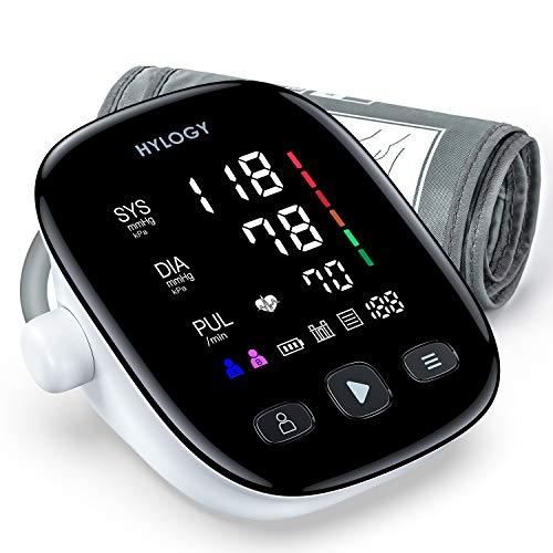 HYLOGY Tensiómetro de Brazo, Monitor de Presión Arterial Digital Automatico con Gran Pantalla LED, Deteccion de Irregular Arritmia, Brazalete 22-42cm, 2x90 Memoria y Recargable USB