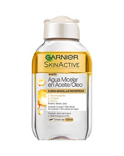 Garnier Skin Active - Agua Micelar en Aceite, Elimina el Maquillaje Waterpoof, Formato Viaje - Pack de 6 x 100 ml (Total 600 ml)