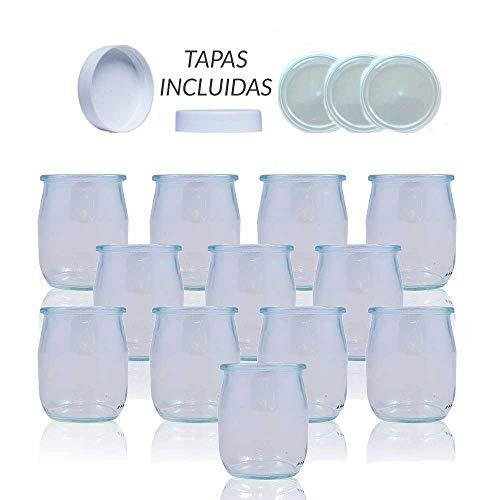 Vasos yogurtera de cristal con tapa pack de 12 botes para yogurtera de 143 Ml tarros para postres recipiente para moulinex, lidl, severin, braum y resto de yogurteras (Tapa Blanca) (143)