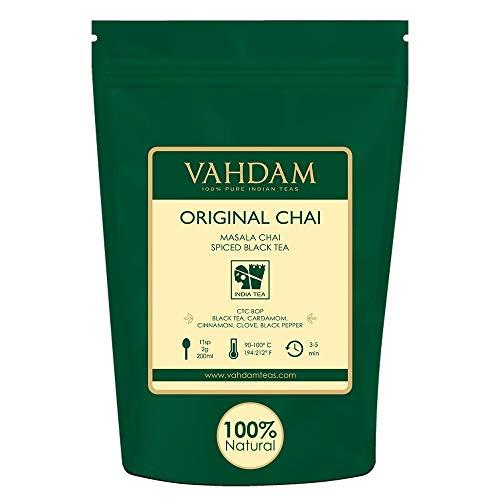 VAHDAM, hojas sueltas de té original indio Masala Chai latte (más de 200 tazas)   100% INGREDIENTES NATURALES   Té negro, canela, cardamomo, clavo y pimienta negra   Producto de la India   Tea   454gr