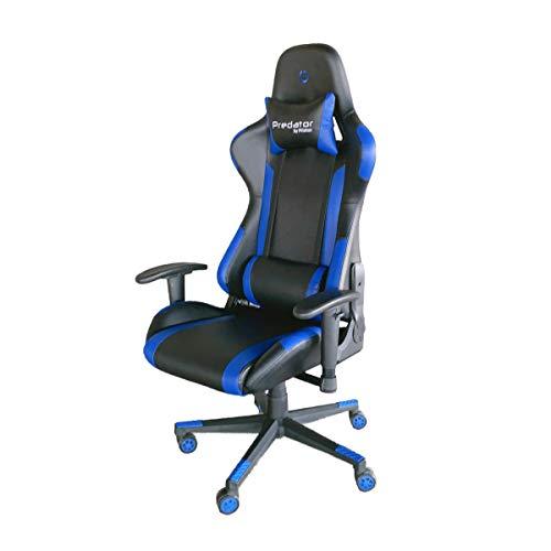 PRIXTON Predator Gaming Chair 10B - Silla Gaming/Silla Gamer con Altura y Reposabrazos Ajustables, Reclinable 180º, Fabricado en Metal y Espuma de Alta consistencia, Cojín Cervical Incluido, Azul