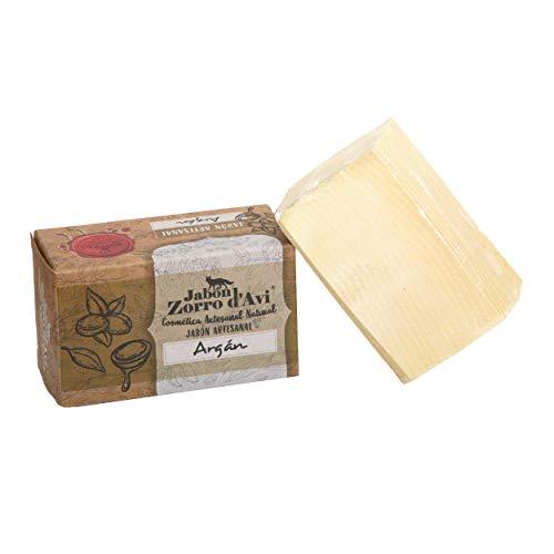 Jabón Zorro D'Avi | Jabón Natural de Argán | 120 gr | para Pieles Sensibles y Secas | Jabón Biodegradable Zero Waste | Hidratante, Calmante y Regenerador | Fabricado en España