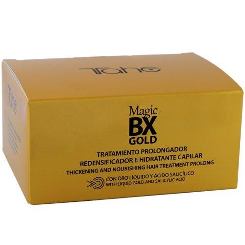 Tahe Magic BX Gold Tratamiento Capilar Redensificador Hidratante Efecto Botox de Larga Duración, Caja de 5 Ampollas 10 ml. Brillo Infinito, Melena Densa, Suavidad Extrema