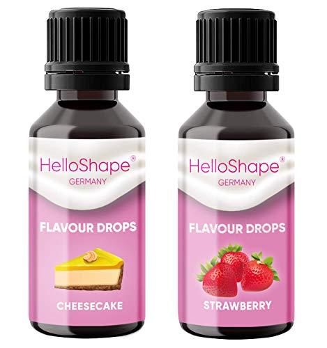 Flavour Drops - Juego de 2 frascos (2x30 ml) - Tarta de queso y Fresa/Gotas de sabor sin calorías para endulzar, con dosificador, vegano, para yogur natural, porridge o queso quark - Hello Shape