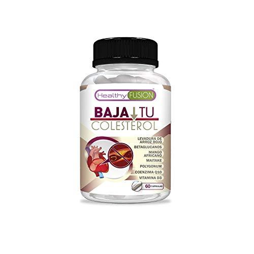 Levadura de arroz rojo para reducir y bajar los niveles de colesterol LDL y aumentar el nivel de HDL | Levadura de arroz rojo + coenzima Q10 + resveratrol + mango africano + vitamina D | 60 cápsulas