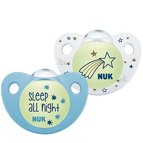 NUK 10177146 Trendline Night & Day - Chupete de silicona con efecto luminoso (18-36 meses), color azul
