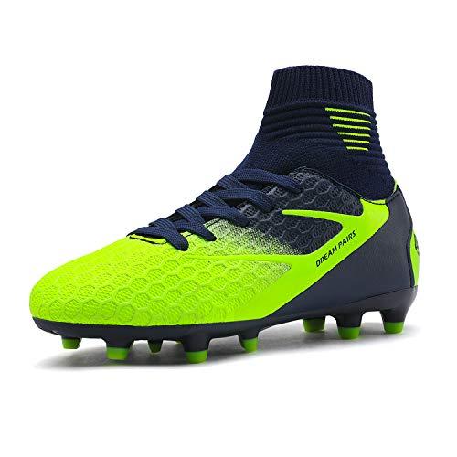 Dream Pairs HZ19002K Zapatillas de Fútbol para Unisex Niños Azul Oscuro Verde Neón 37 EU/5 US Big Kid