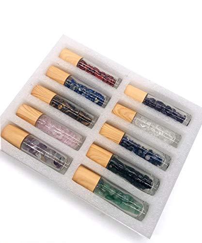 RXFSP 10 piezas 10ml Botellas de vidrio, Botella de aceite esencial Roll-on para aceite esencial, Botella de bola de rodillo para líquido