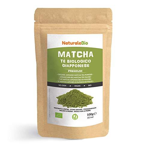 Té Verde Matcha Orgánico Japonés En Polvo [ Calidad Premium ] 100g. Té Matcha Biológico Japonés. Té Bio Grado Premium. Matcha Ecológico Cultivado En Japón, Uji, Kyoto. Ideal Para Beber, Cocina, Latte