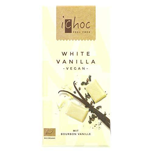 Ichoc Vivani Organic Chocolate Blanco Vainilla 80g | Sin lactosa | vegano (Pack de 4)