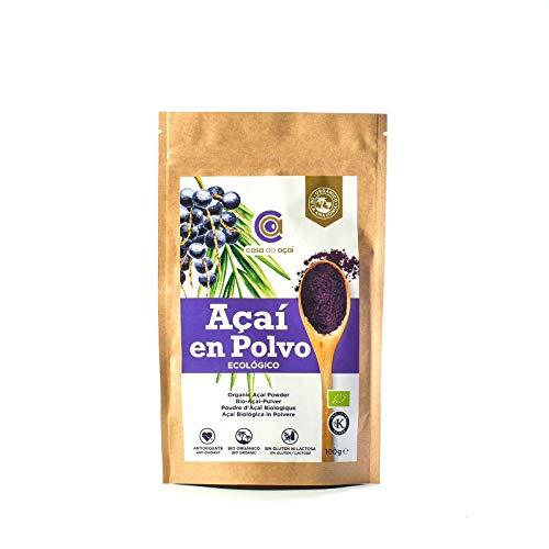 Açaí Ecológico en Polvo 100g, Açaí Berry Organic Powder Biológico Orgánico, Bayas de Acai Organico en Polvo. Hecho con la Pulpa de Açaí, Superalimento de Cultivo Nativo de la Amazonia