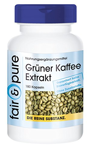 Extracto de Café Verde 500mg - Vegano y natural - 45% de ácido clorogénico - Alta pureza - 180 Cápsulas