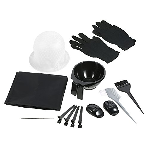 Anself Kit de Herramientas para Coloración Kit de Tinte para el Cabello Cepillo Peluquería Delantal Pelo Cap Gancho Clips de Peluquería