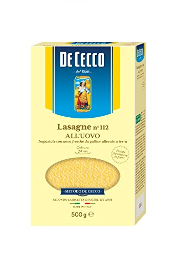 De Cecco 10x Lasagne all'uovo Pasta No. 112 Egg Lasagna 500g