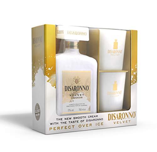 Disaronno Licor de crema velvet - 70cl - Pack con dos vasos cristal blanco de regalo