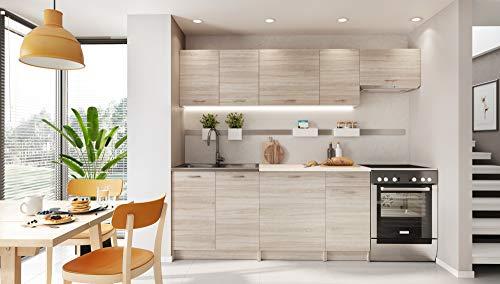 Muebles Cocina Completa,240 cms, Modulos de cocinas ref-06 (Roble)