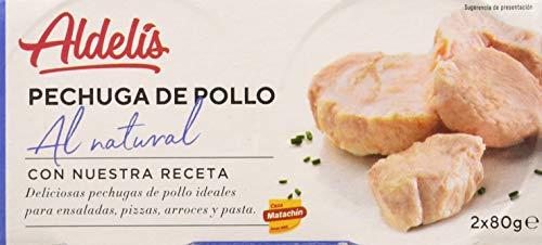 Aldelís Conserva Pechuga de Pollo al Natural Pack 16  x 2 Unidades de 160 g