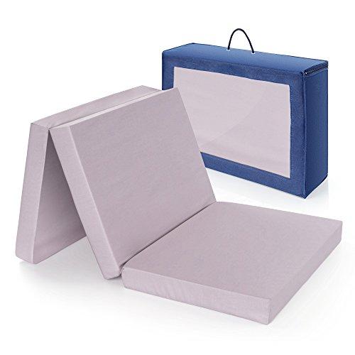Alvi colchón cuna de viaje plegable 120x60 cm / Altura 6 cm - funda de algodón lavable, transpirable, sin sustancias nocivas