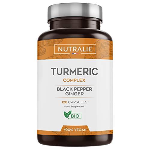 Cúrcuma orgánica Turmeric (650mg) con Jengibre(50mg) y Pimienta Negra(10mg)   120 cápsulas vegetales   Máxima calidad   Potente antiinflamatorio y antioxidante natural   Cúrcuma complex   Nutralie