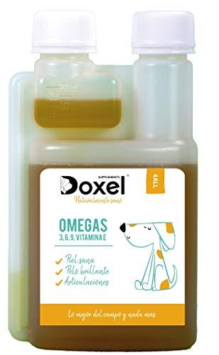 Doxel 4all-500ml Aceite para Perros| Suplemento Natural | Sistema Inmunitario Reforzado| Articulaciones sanas| Pelo Brillante| Piel Sana| �cidos grasos Omega 3 6 9| Vitamina E| Alergias Perro|Natural