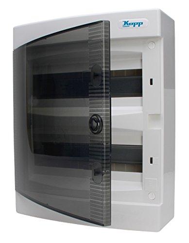 Kopp 350912048 - Cuadro de distribución de Superficie, con Puerta, 2Filas, para 24módulos, 1Unidad, Color Gris/Negro