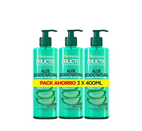 Garnier Fructis Aloe Secado al Aire Tratamiento Capilar Pelo Normal, Largo, pack de 3 (3 x 400 ml)