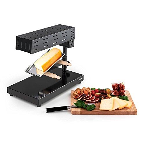 Klarstein Appenzell 2G Schweizer Raclette Grill - Raclette para Queso, Parrilla de Mesa, Queso Fundido Tradicional, 600 W, Temperatura Regulable, Gratinadora, Negro