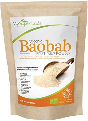 Polvo Orgánico Baobab (500 gramos), MySuperFoods, Repleto de Vitamina C, Calcio, Magnesio, Potasio, Certificado como orgánico por el Soil Association