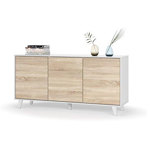 Habitdesign 0F6638BO - Aparador Buffet salón Comedor 3 Puertas, Color Blanco Brillo y Roble Canadian, Medidas: 154 x 75 x 41 cm de Fondo