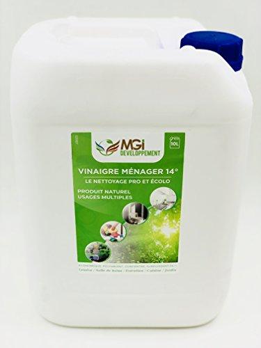 MGI DESARROLLO 10 L Vinagre blanco a 14° – Para una limpieza sana – Calidad profesional – Versátil: limpia, desengrasa, descalcificador (10 litros)