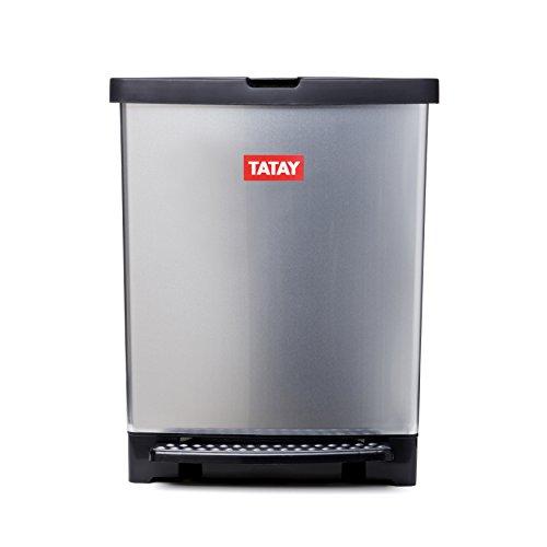 Tatay Trend-Cubo de basura para cocina fabricado en PP metalizado con 25 litros de capacidad-Sistema de apertura a pedal, 33.5 x 31 x 42 cm
