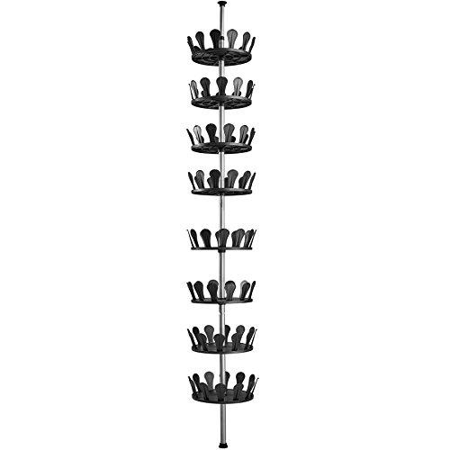 TecTake 402645 - Carrusel para Zapatos, Soporte Estantería Telescópica Giratorio, para 96 Zapatos, Altura Ajustable de 100 a 300 cm